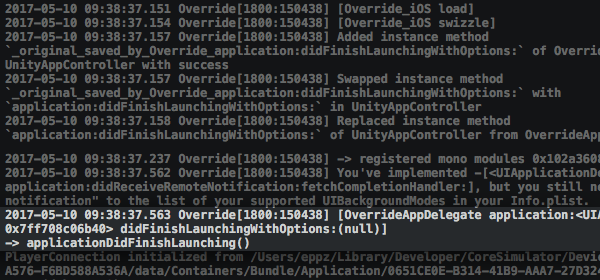 Unity iOS Player Console Log applicationDidFinishLaunching swizzle