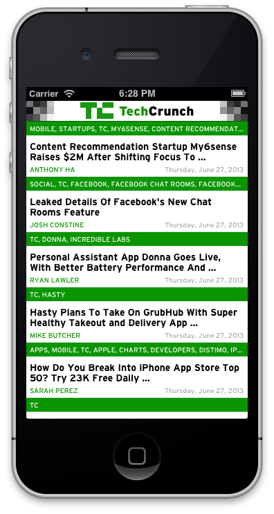 Custom UITAbleViewCell from Xib with ease - I simply want to create a really basic fronted for the TechCrunch feed (a simple JSON with predefined keys), with some colored labels, custom fonts.